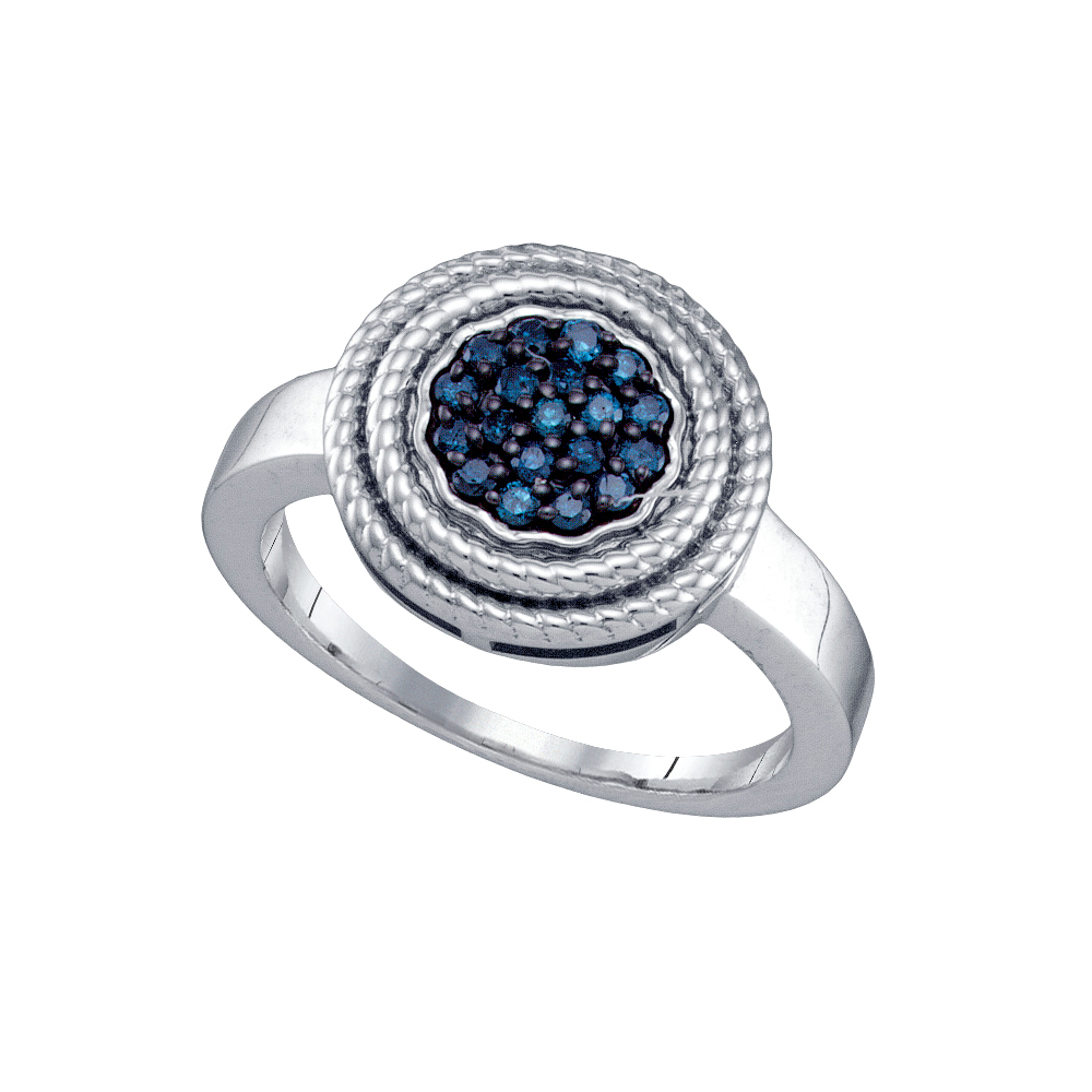 0.25CTW BLUE DIAMOND  CLUSTER RING / Womens