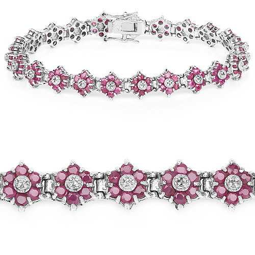 7.00 Carat Genuine Ruby and White Diamond .925 Sterling Silver Bracelet | size 7.25