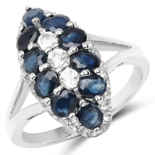 2.87 Carat Genuine Blue Sapphire and White Topaz .925 Sterling Silver Ring | size 7.00