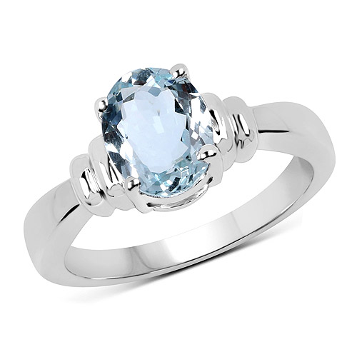 1.50 Carat Genuine Aquamarine .925 Sterling Silver Ring | size 6.00