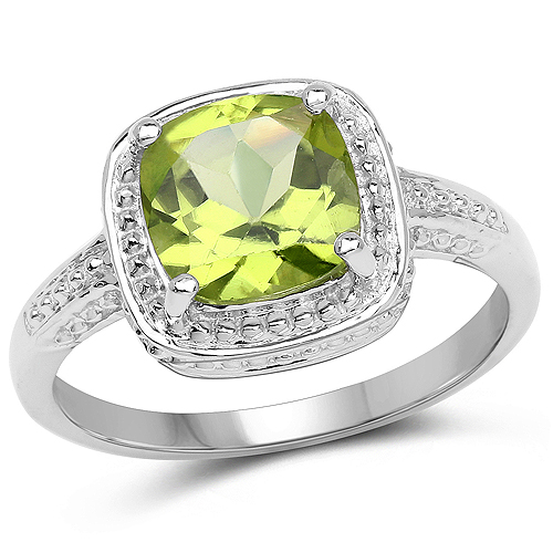 2.15 Carat Genuine Peridot .925 Sterling Silver Ring | size 6.00