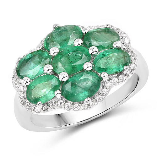 3.33 Carat Genuine Zambian Emerald and White Zircon .925 Sterling Silver Ring | size 10.00