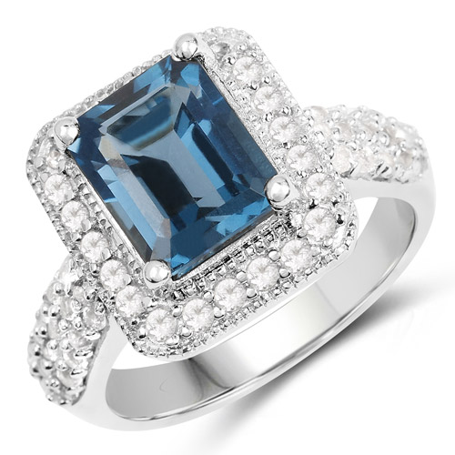 5.14 Carat Genuine London Blue Topaz and White Topaz .925 Sterling Silver Ring | size 9.00