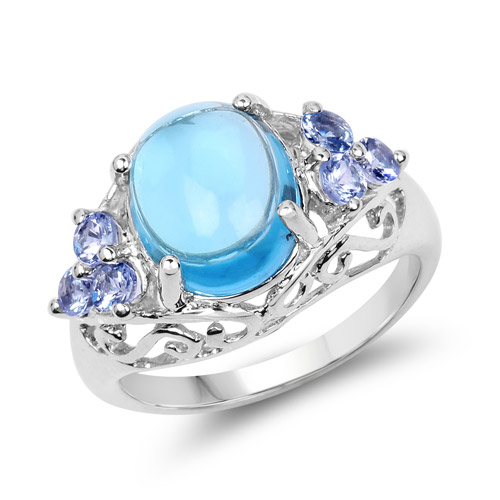 4.89 Carat Genuine Swiss Blue Topaz and Tanzanite .925 Sterling Silver Ring | size 6.00