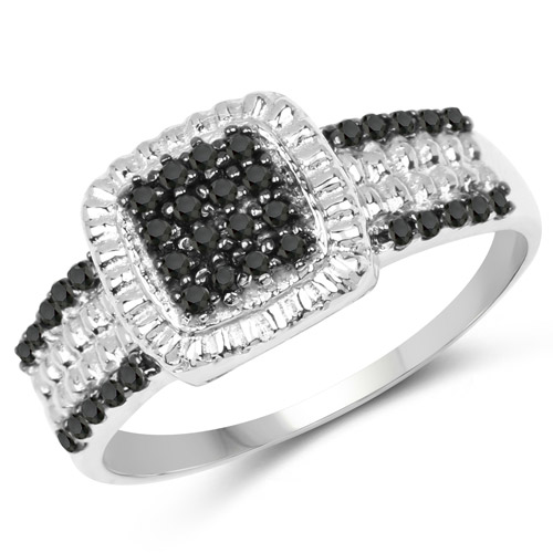 0.30 Carat Genuine Black Diamond and White Diamond .925 Sterling Silver Ring | size 7.00