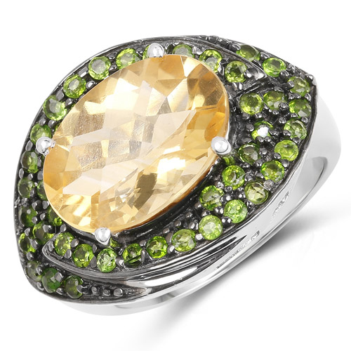 6.11 Carat Genuine Citrine and Chrome Diopside .925 Sterling Silver Ring | size 5.00