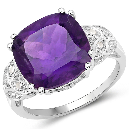 5.71 Carat Genuine Amethyst and White Topaz .925 Sterling Silver Ring | size 7.00