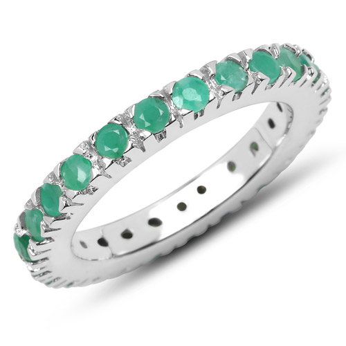 1.27 Carat Genuine Emerald .925 Sterling Silver Ring | size 8.00