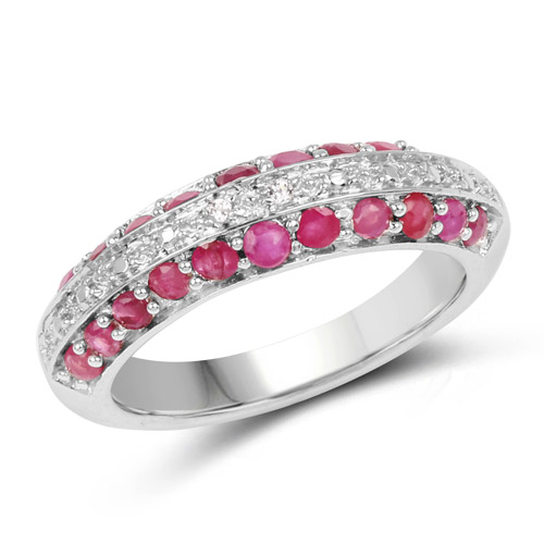 1.01 Carat Genuine Ruby and White Topaz .925 Sterling Silver Ring | size 7.00