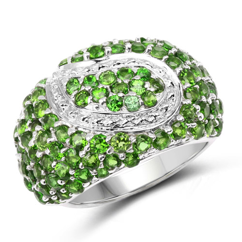 5.18 Carat Genuine Chrome Diopside .925 Sterling Silver Ring | size 6.00