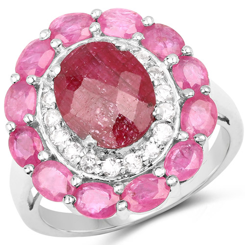 6.01 Carat Dyed Ruby, Ruby and White Topaz .925 Sterling Silver Ring | size 10.00