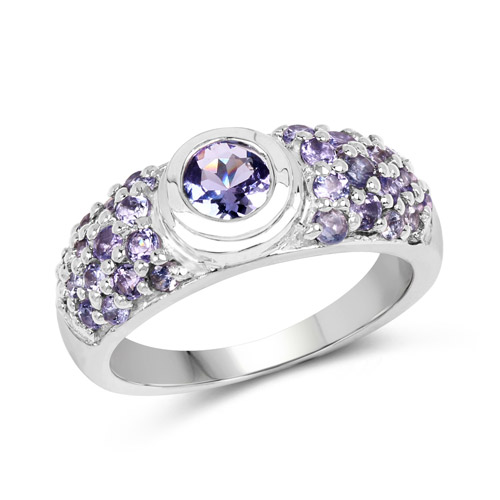 1.45 Carat Genuine Tanzanite .925 Sterling Silver Ring | size 8.00