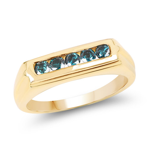 14K Yellow Gold Plated 0.40 Carat Genuine Blue Diamond .925 Sterling Silver Ring | size 9.00