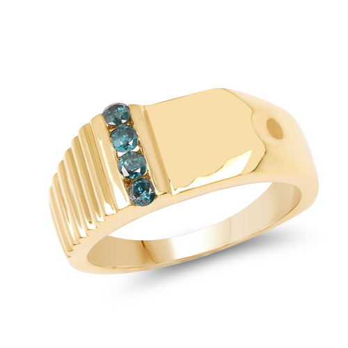 14K Yellow Gold Plated 0.20 Carat Genuine Blue Diamond .925 Sterling Silver Ring | size 9.50
