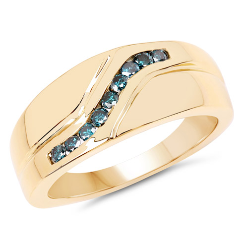14K Yellow Gold Plated 0.27 Carat Genuine Blue Diamond .925 Sterling Silver Ring | size 9.00