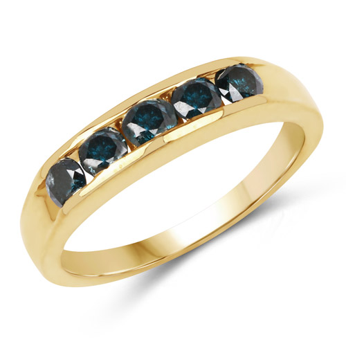 14K Yellow Gold Plated 0.80 Carat Genuine Blue Diamond .925 Sterling Silver Ring | size 9.00