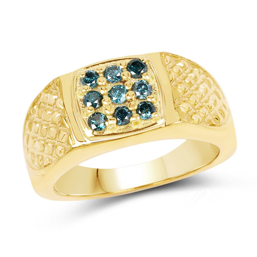 14K Yellow Gold Plated 0.36 Carat Genuine Blue Diamond .925 Sterling Silver Ring | size 8.00