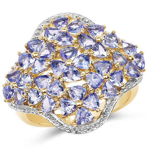 14K Yellow Gold Plated 3.60 Carat Genuine Tanzanite .925 Sterling Silver Ring | size 6.00