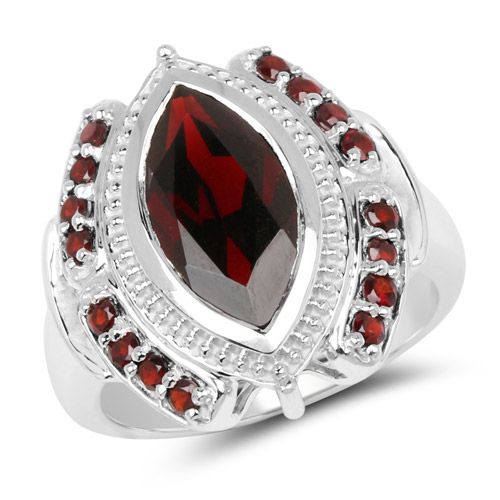 4.06 Carat Genuine Garnet .925 Sterling Silver Ring | size 6.00