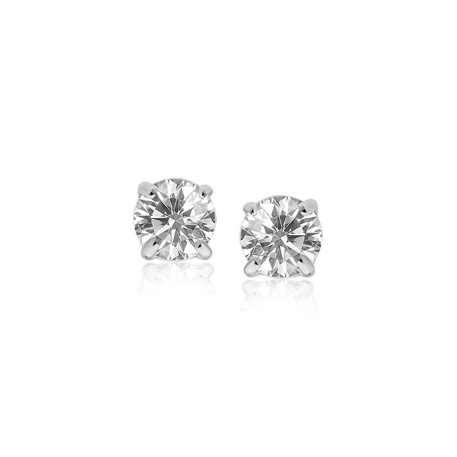 14k White Gold Stud Earrings with White Hue Faceted Cubic Zirconia