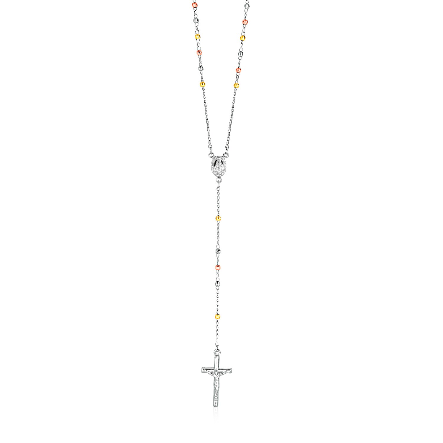 Three Toned Rosary Chain and Bead Necklace in Sterling Silver